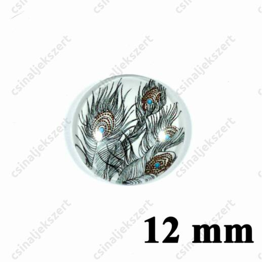 12 mm Pávatoll mintás üveglencse 5