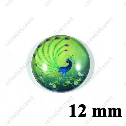 12 mm Pávatoll mintás üveglencse 8