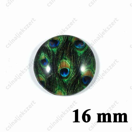 16 mm Pávatoll mintás üveglencse 9