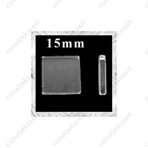 Sík üveg lencse négyzet 15 mm