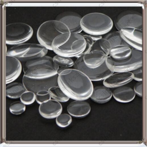 Lapos hátú áttetsző ovális üveg lencse edzett üvegből II. oszt. vegyes 100 g