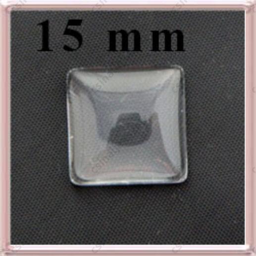 Lapos hátú áttetsző négyzet üveg lencse edzett üvegből 15x15 mm