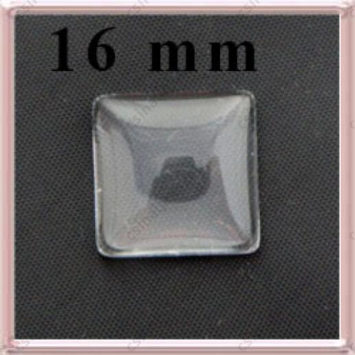 Lapos hátú áttetsző négyzet üveg lencse edzett üvegből 16x16 mm