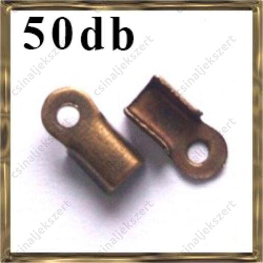 50 db Antikolt bronz színű bőrvég 9x4 mm