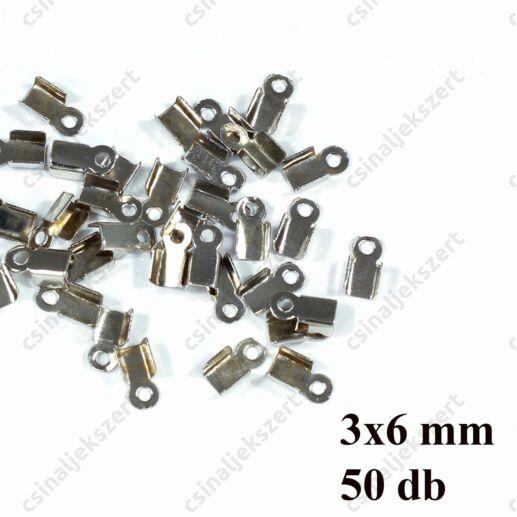 50 db Ródiumos ráhajtós bőrvég láncvég 3x6mm
