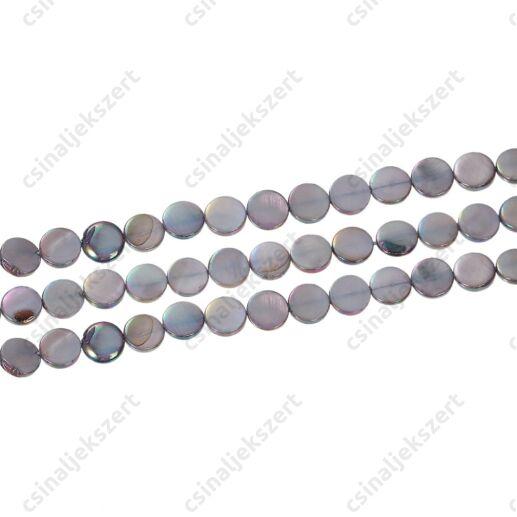 10 mm szivárványos szürke kagylóhéj gyöngy