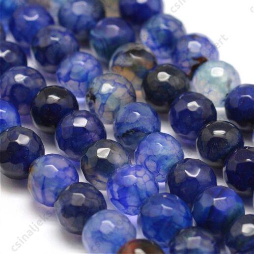 1 szál 8 mm festett Kék Sárkány Achát ásványgyöngy