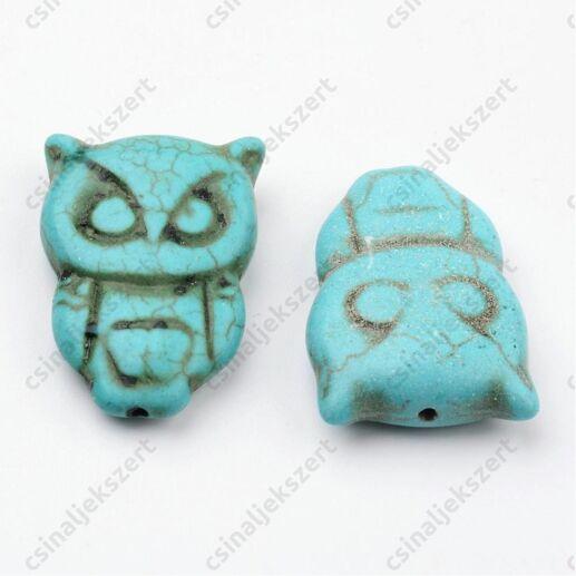 Bagoly alakú kék türkiz színű Howlit ásványgyöngy