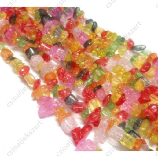 Festett, vegyes színű roppantott kristály chips splitter gyöngy