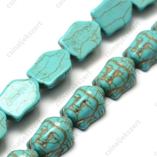 Kék színű Buddha fej howlit ásványgyöngy