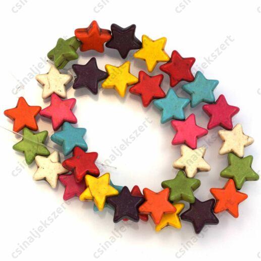 Vegyes színű csillag alakú howlit ásványgyöngy