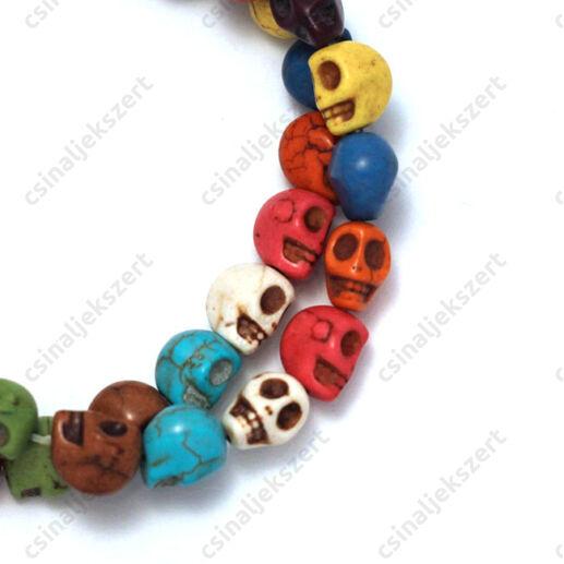 Howlit ásványgyöngy vegyes színű koponya 10 mm