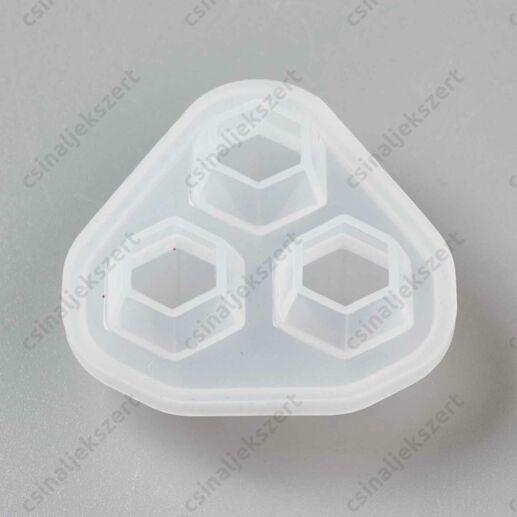 3 részes gyémánt alakú 71x74 mm szilikon öntőforma