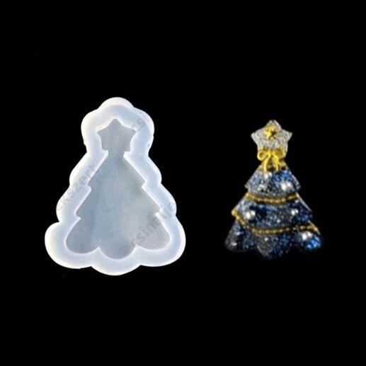 58 mm Karácsonyfa alakú szilikon medál öntőforma