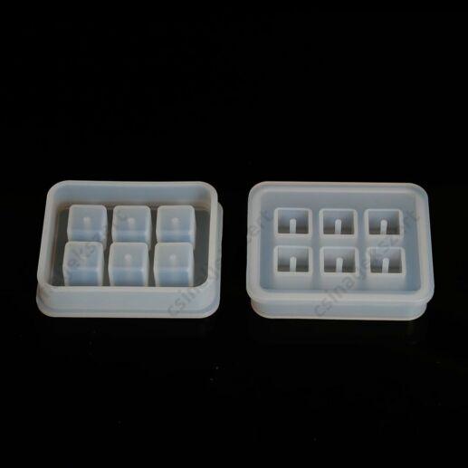 6 darabos négyzet gyöngy 12x12 mm szilikon öntőforma
