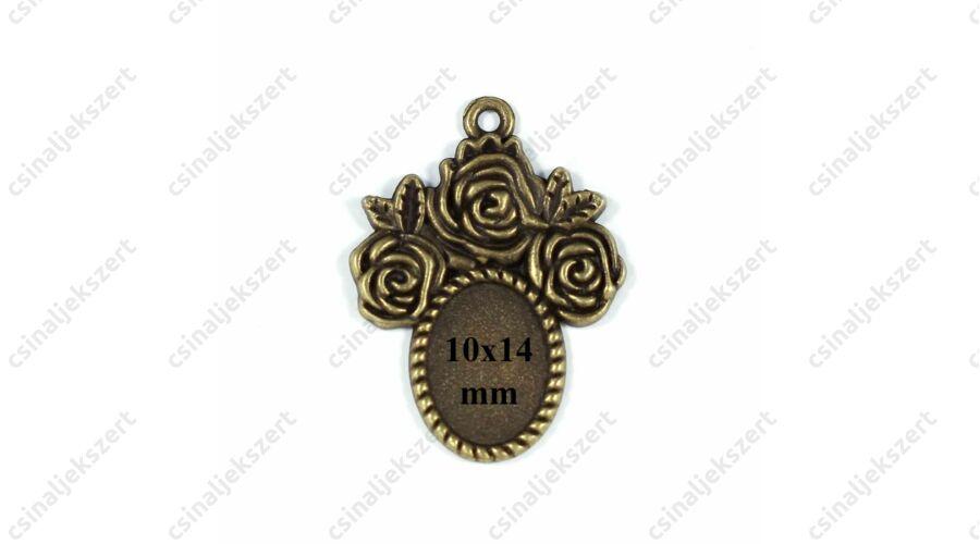 f8ae32f66 Antikolt bronz színű 10x14 mm rózsás ovális üveglencsés medál alap
