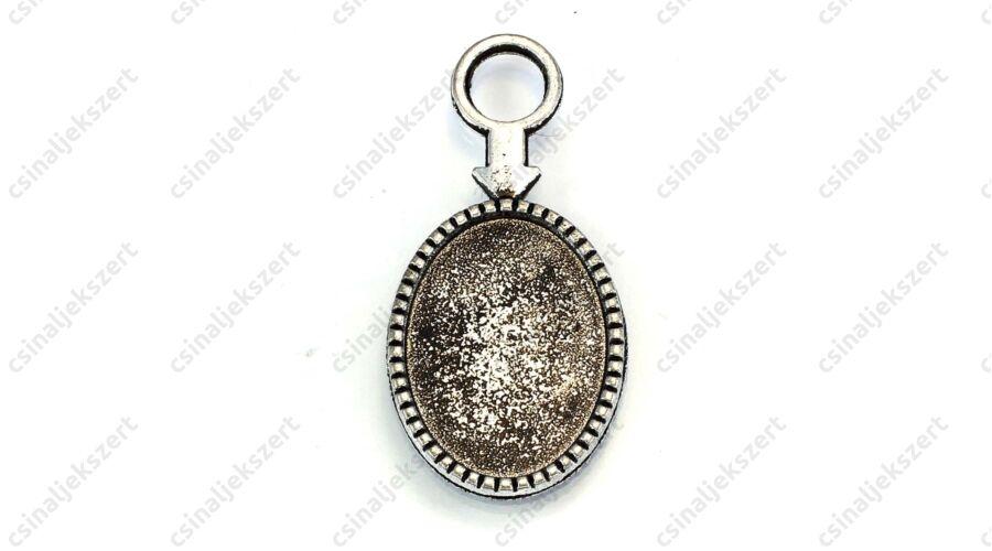bce5e4b4d Antikolt ezüst színű nyilas ovális üveglencsés medál alap 18x25 mm  NIKKELMENTES